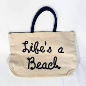 """""""Life's A Beach"""" Lettering Canvas Tote Bag Blue"""